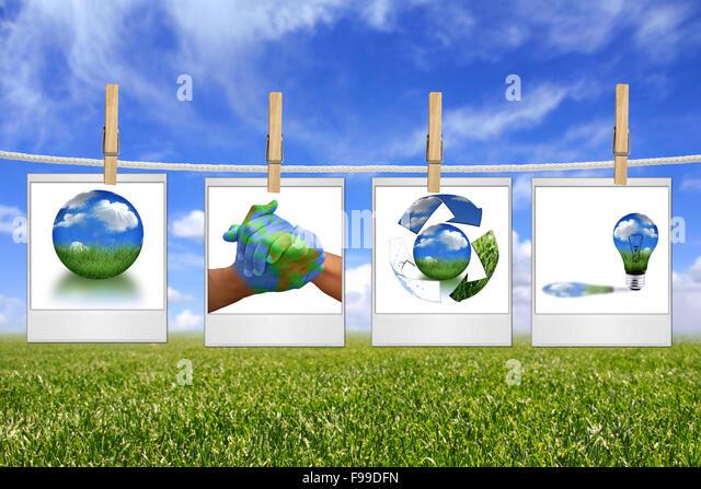 Grüne Energie Lösung Bilder hängen an einem Seil Stockbild