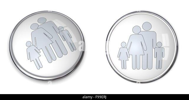 """Schaltfläche """"3D"""" Familie mit Kinder-Piktogramm Stockbild"""