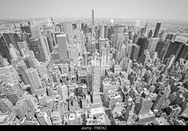 Schwarz / weiß getönten Luftaufnahme von Manhattan, New York City, USA. Stockbild