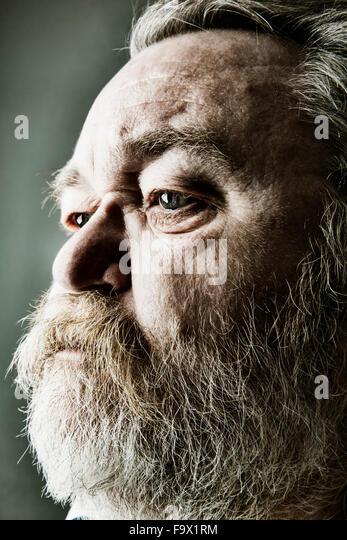 Porträt des älteren Mannes mit Vollbart, Nahaufnahme Stockbild