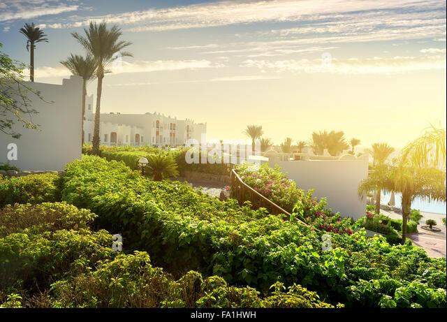 Hotel in Sharm el Sheikh bei Sonnenaufgang Stockbild