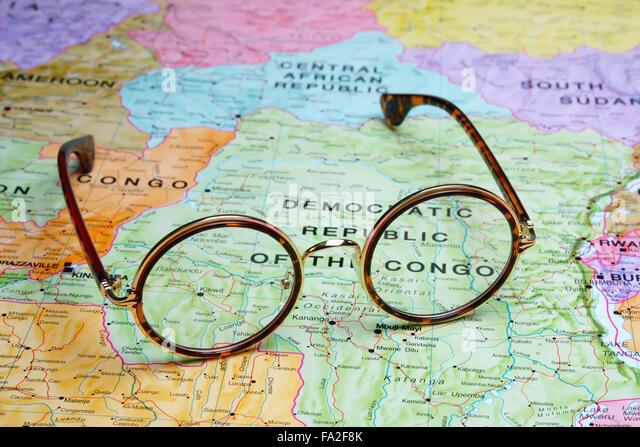 Brille auf Karte - demokratische Republik Kongo Stockbild
