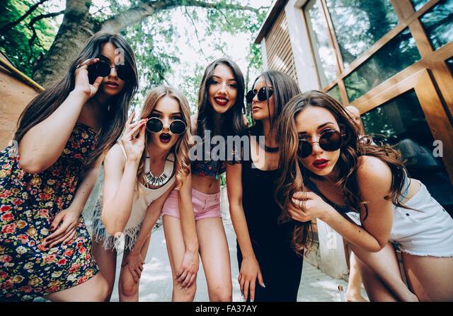 fünf junge schöne Mädchen Stockbild