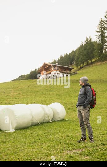 Reife Wanderer stehen in der Nähe von Ballen und Blick auf Ansicht, Österreichische Alpen, Kärnten, Stockbild