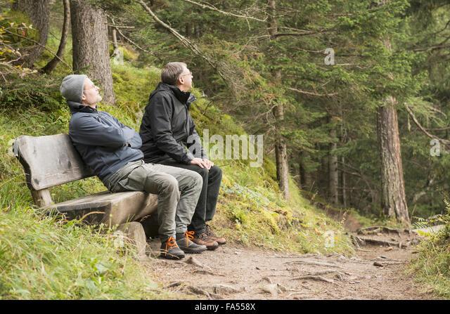 Zwei ältere Wanderer ruht auf Bank im Wald, Alpen, Kärnten, Österreich Stockbild