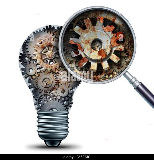 Kreative Rückgang und überholten und veralteten Ideen Konzept als eine Glühbirne von mechanischen Stockbild