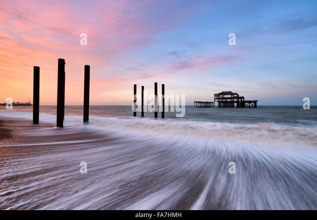 Die Überreste der Brighton Pier west Stockbild