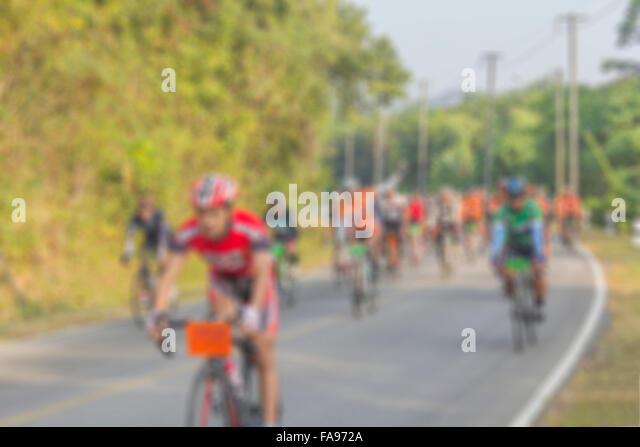 Verschwommen unscharf gestellt von asiatischen Radrennen für Hintergrund Stockbild