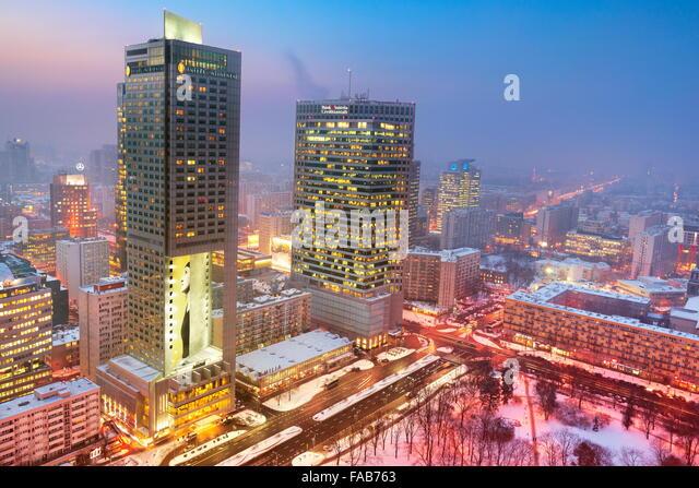 Warschau-Skyline - Blick, dem Geschäftsviertel, Polen Stockbild