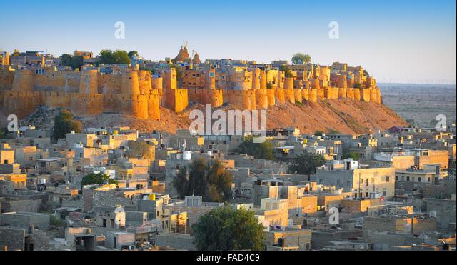 Panoramablick auf Skyline von Jaisalmer Fort, Jaisalmer, Rajasthan, Indien Stockbild