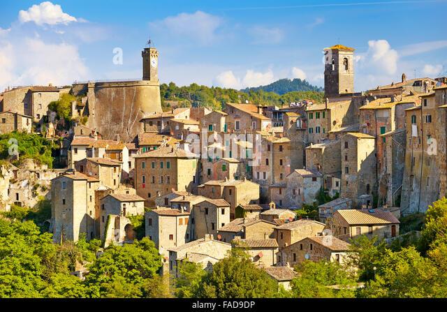 Stadtbild von Sorano alte Stadt, Toskana, Italien Stockbild