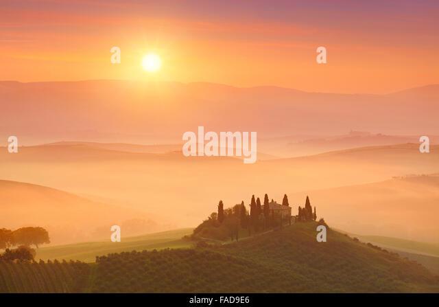 Landschaften von Tuscany Sunrise, Val d ' Orcia, Italien Stockbild