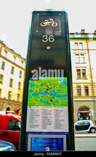 """Stockholm Schweden Regierung Citybikes zur Miete mit gekauft """"Rad-Karte"""" für Touristen und Bürger Stockbild"""