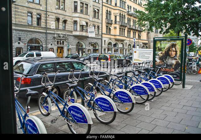 """Stockholm Schweden Stadtfahrräder zu vermieten mit gekauft """"Rad-Karte"""" für Touristen und Bürger Stockbild"""