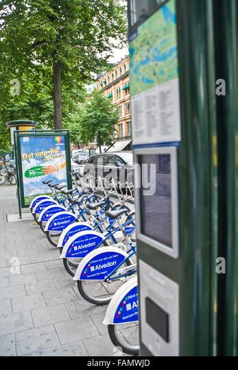 """Stockholm, Schweden-City-Bikes zu vermieten mit gekauft """"Rad Karte"""" © Myrleen Pearson Stockbild"""