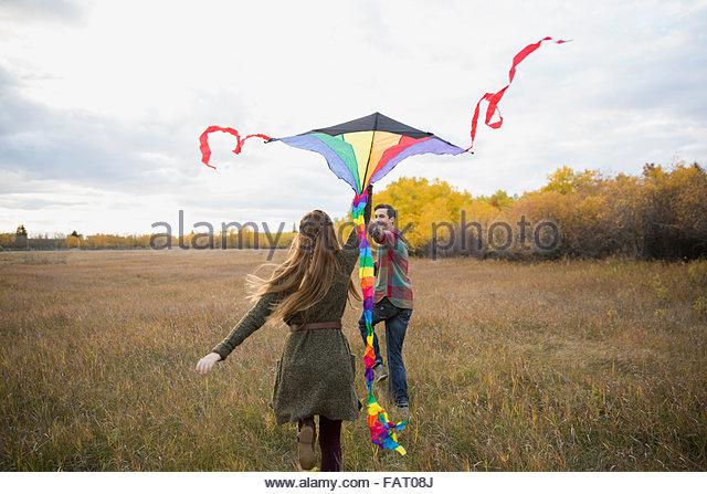 Paar Drachen im Herbst Feld Stockbild
