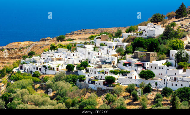Lindos Stadt, Rhods Insel, Griechenland Stockbild