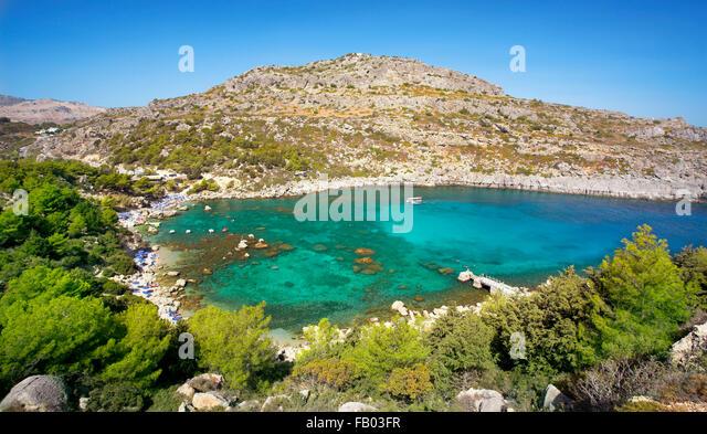 Anthony Quinn Bay, Rhodos, Griechenland Stockbild
