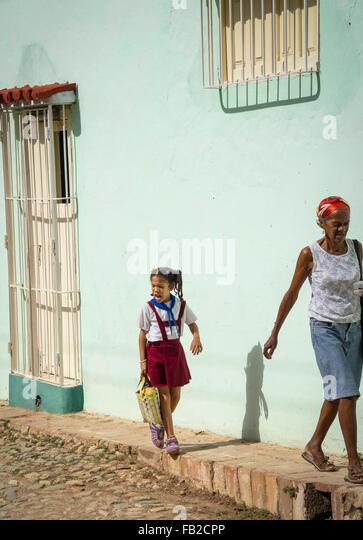 Alltag auf der Straße wenn Trinidad, Kuba Stockbild