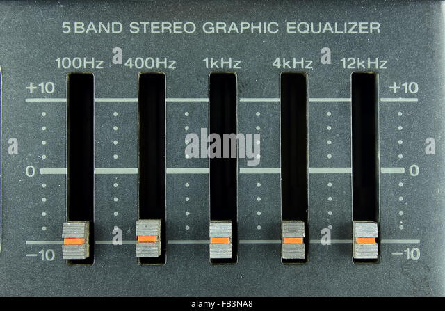fünf-band Stereo Grafiken-equalizer Stockbild