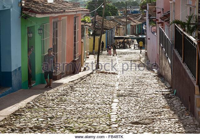 Trinidad de Cuba, alltäglichen Lebensstil in der hispanischen kolonialen Dorf, das in der Zeit als ein lebendiges Stockbild
