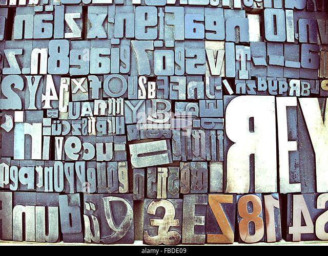 Nahaufnahme der Block Form Alphabete Stockbild