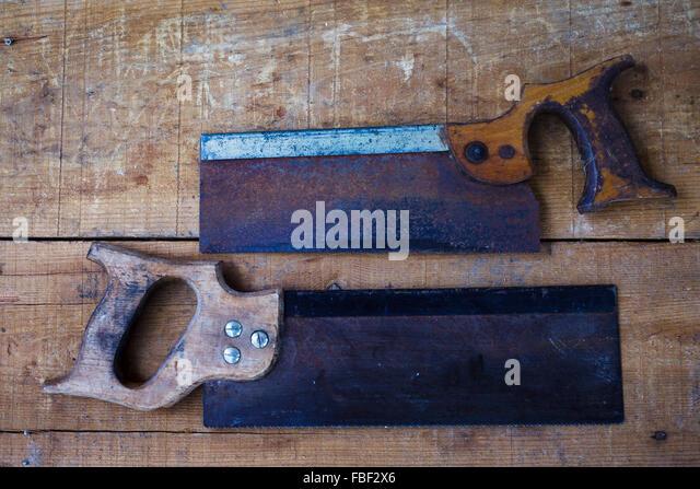 Direkt oberhalb Blick auf Old-fashioned Zimmerhandwerk-Werkzeuge Stockbild