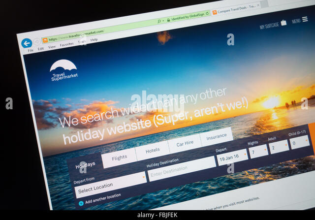 Reisen Sie-Supermarkt Reisen Vergleich-shopping-website Stockbild