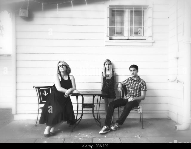 Porträt der Familie im freien Stockbild