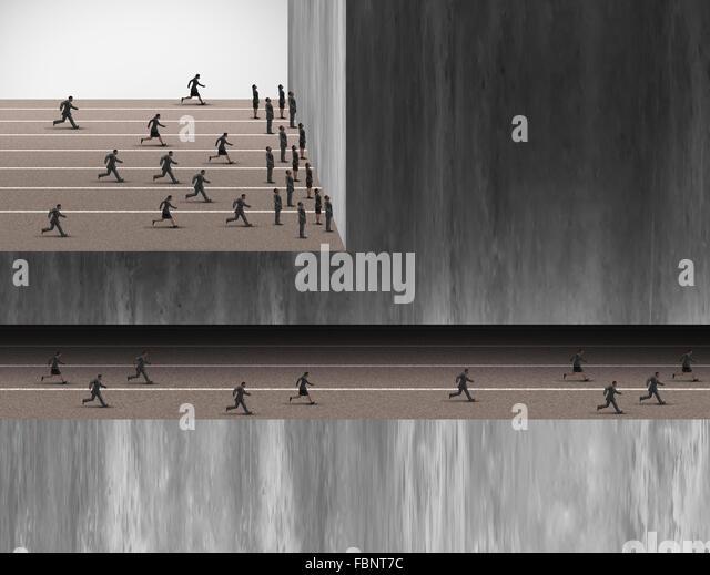 Karriere Chancen Arbeitsplätze Geschäftskonzept als eine Gruppe von Menschen, die an einer Wand gestoppt Stockbild
