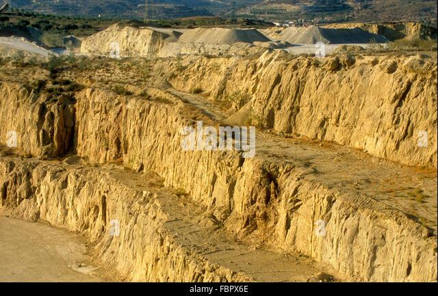 Ausbeutung von Gips. Sorbas, Provinz Almeria, Andalusien, Spanien Stockbild