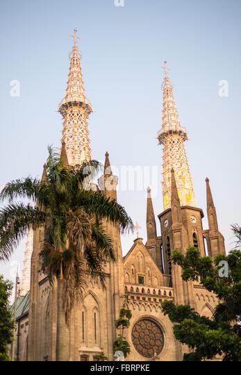 Römisch-katholische Kathedrale in Jakarta, Indonesien Stockbild