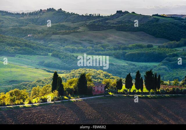 Gepflügten Felder in die malerische Landschaft Italiens. Toskana-Landschaft. Stockbild