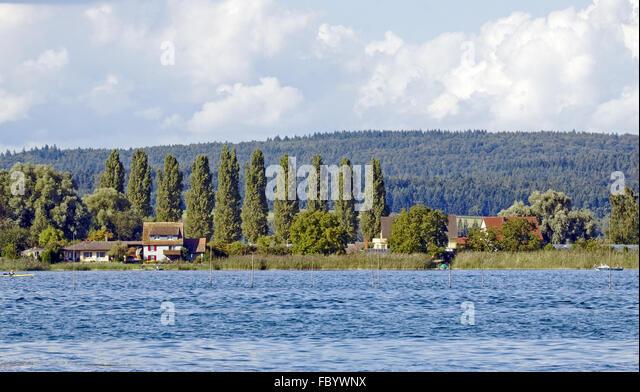 Blick vom Ermatingen auf der Insel Reichenau Stockbild