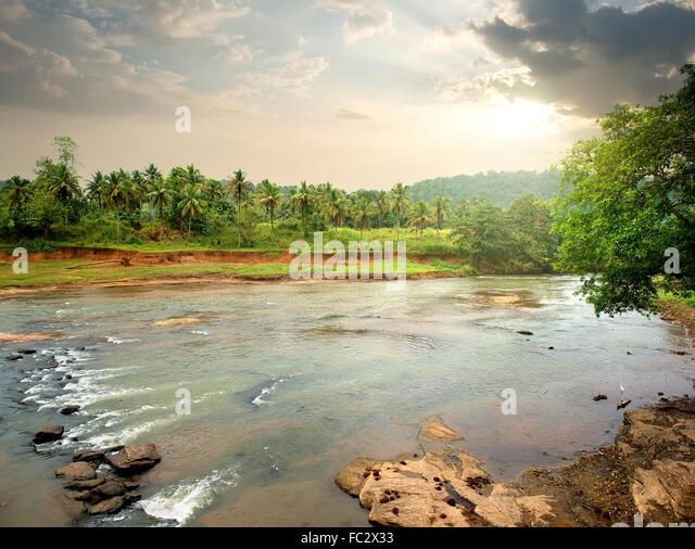 Fluss im Dschungel von Sri Lanka bei Sonnenuntergang Stockbild