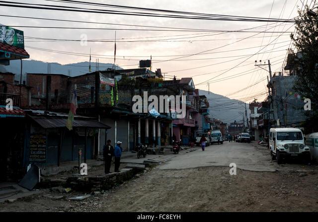 Straße in Besi Sahar, Nepal Stockbild