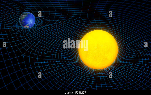 Raum Zeit Kontinuum Krümmung und Schwerkraft-Konzept Stockbild