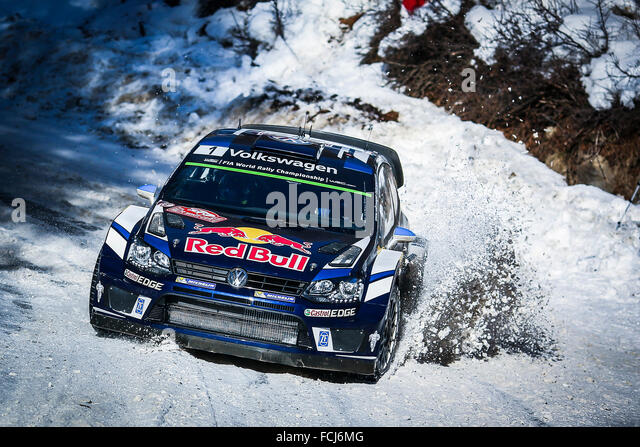 Monte Carlo, Monaco. 21. Januar 2016. Die Rallye Monte Carlo 2016. Die Autos braucht, um den Kurs. Sebastien Ogier Stockbild