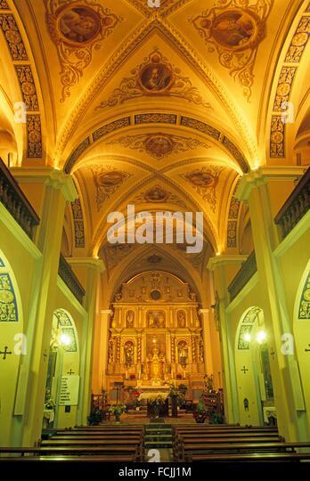 Barocke Kirche von Areches, Gemeinde Beaufort-Sur-Doron, Savoie-Abteilung, Rhône-Alpes, Frankreich, Europa. Stockbild