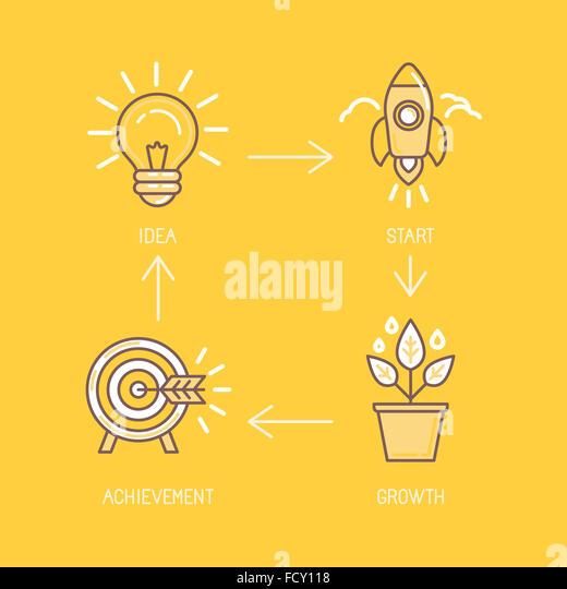 Infografik-Design Element und Konzept-Darstellung in trendigen linearen Stil - Schritte der Geschäftsentwicklung Stockbild