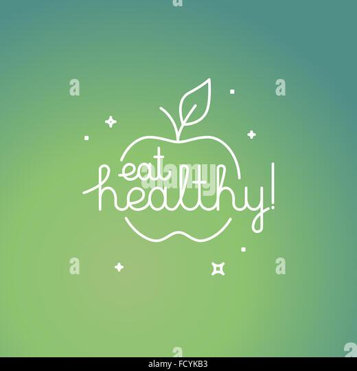 Lineare Poster im trendigen mono Line Stil mit Hand-Schriftzug Zitat - Essen gesund - Bio und frische Food-Konzept Stockbild
