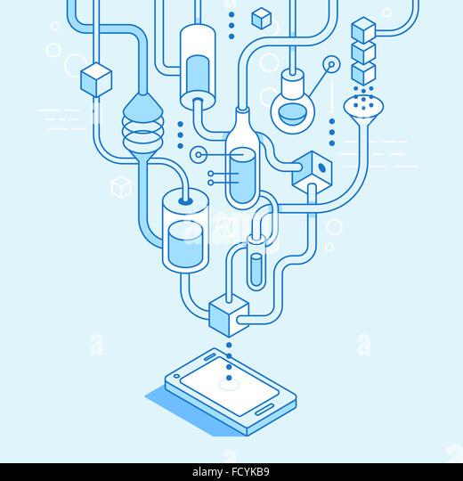Mobile app Entwicklungskonzept in trendigen linearen Stil - Illustration für Website oder Banner - Applikationslabor Stockbild