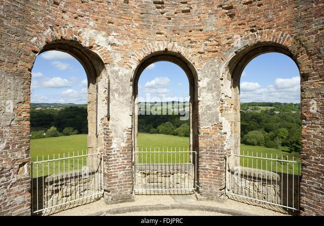Blick von der Orangerie über die Landschaft am Gibside, Newcastle Upon Tyne. Stockbild