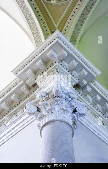 Decke und Spalte Detail der palladianischen Kapelle, begonnen im Jahre 1760 auf das Design von James Paine, bei Stockbild
