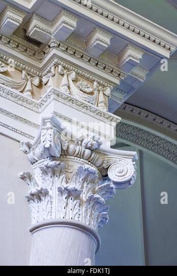 Spalte Kapital und Decke der palladianischen Kapelle, begonnen im Jahre 1760 auf das Design von James Paine, bei Stockbild