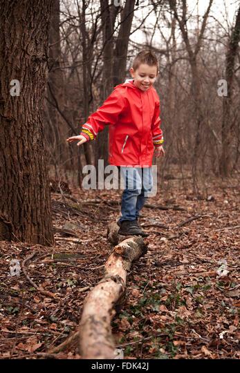 Junge auf einem Baumstamm balancieren Stockbild