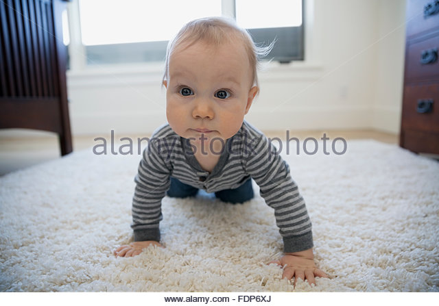Porträt neugieriger Junge kriecht auf Shag Teppich Stockbild