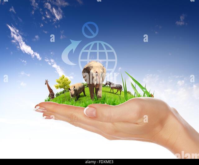 Grüne Welt und Tierwelt Schutz Konzept collage Stockbild