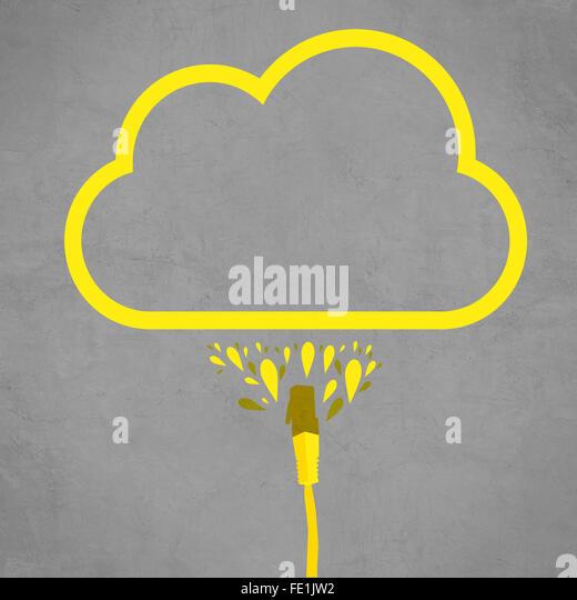 LAN-Kabel angeschlossen, Cloud-Service, einfache flache Linie Darstellung der Internet-Technologie Cloud computing Stockbild