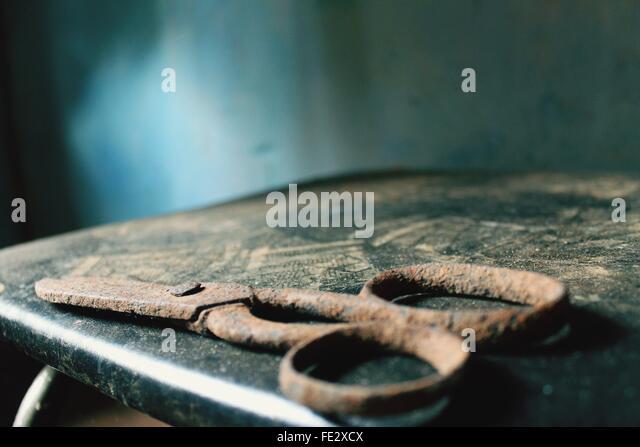 Blick auf Rusty Schere Stockbild